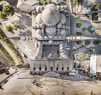 Photography of the New Mosque in an unusual perspective