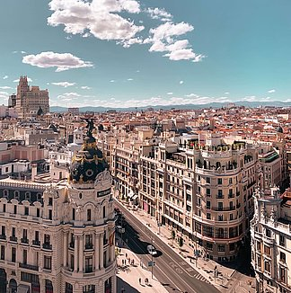 Gran Via in Madrid seen from above