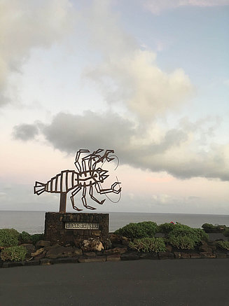 Lobster-shaped sculpture in front of the beach of Lanzarote