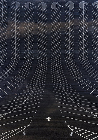 Photography of an empty car park in an unusual perspective