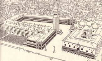 Scetch aerial view of St. Mark's Square