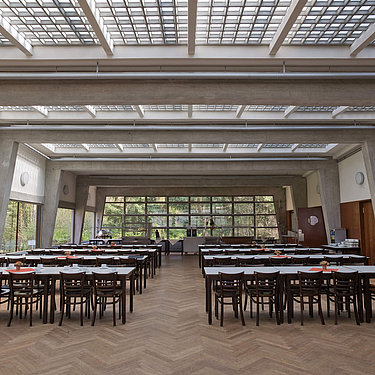 ADGB Trade Union School inside with long tables and many chairs