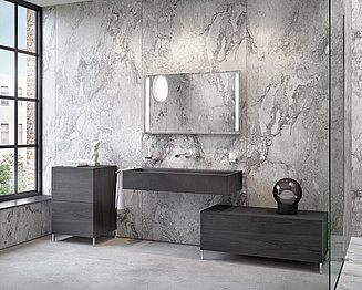 Bathroom with gray furniture, vanity and mirror